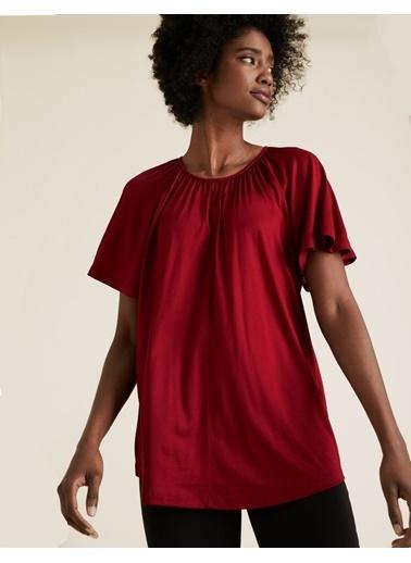 Marks & Spencer Yuvarlak Yaka Fırfırlı Kollu Bluz Kırmızı